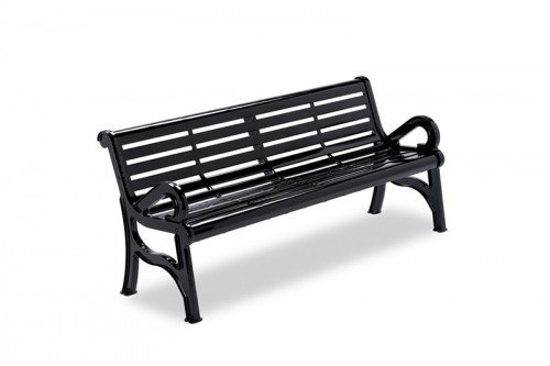 Horizon Slatted Steel Contour Bench