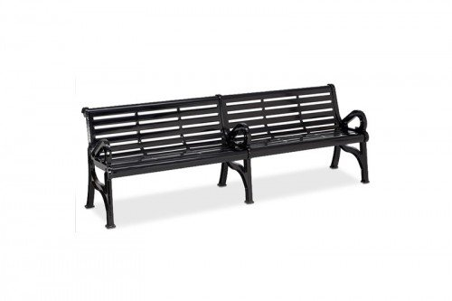 Horizon Slatted Steel Contour Bench with Center Armrest