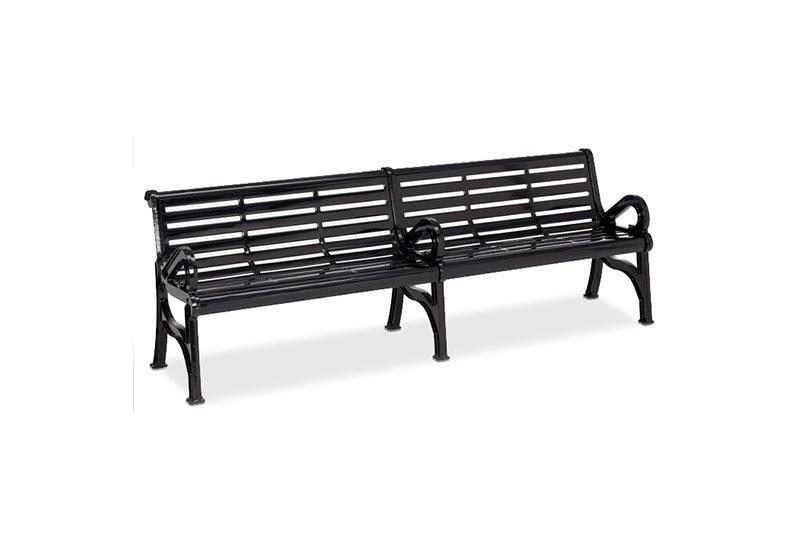 Horizon Slatted Steel Contour Bench with Center Armrest