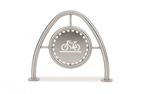 Arch Bike Rack in Stainless Steel with Standard Medallion