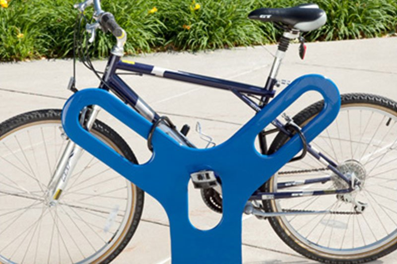 The Key Bike Rack with Plastisol Coated Rack & Powder Coated Surface Mount Flange