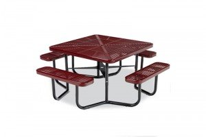"""46"""" Square Portable Picnic Table with Slotted Surface and 4 Leg Frame"""