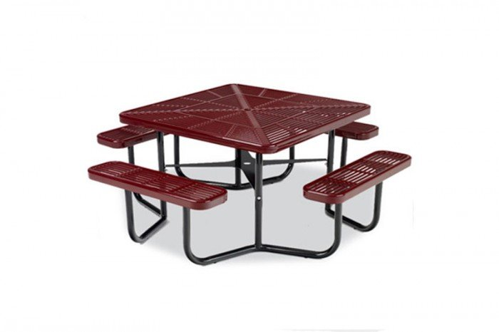 "46"" Square Portable Picnic Table with Slotted Surface and 4 Leg Frame"