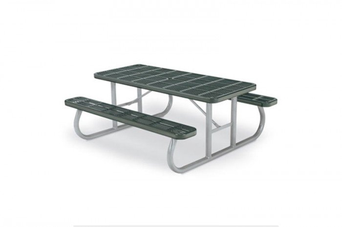 Rectangular Heavy-Duty Portable Picnic Table with Slotted Surface