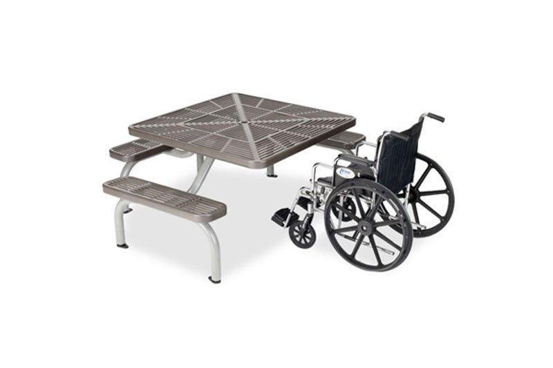 3-Seat ADA Slotted Steel Ultra Table with Surface Mount