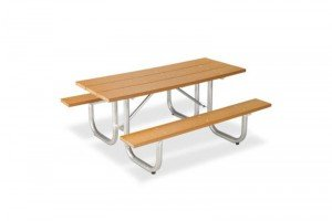 6' Recycled Plastic Picnic Table - Galvanized Frame