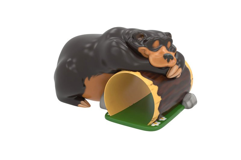 BLACK BEAR SLEEPING OVER LOG TUNNEL CLIMBER 1