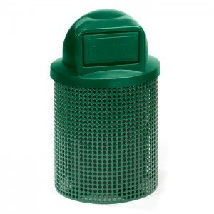 Ultra Perforated Steel Trash Receptacle - Dome Top