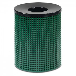 Ultra Perforated Steel Trash Receptacle - Contour Top
