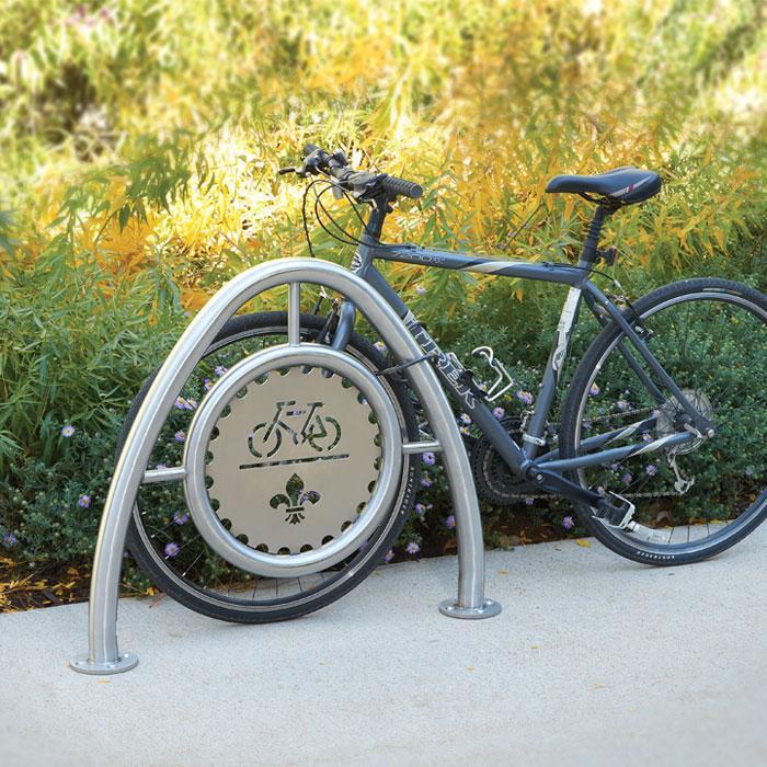Arch Bike Rack in Stainless Steel - Custom Medallion