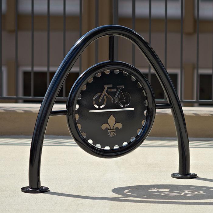 Arch Bike Rack in Powder Coated Steel with Custom Medallion